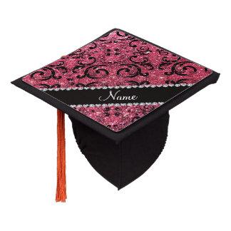 Custom name black fuchsia pink glitter damask graduation cap topper