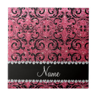 Custom name black fuchsia pink glitter damask tiles