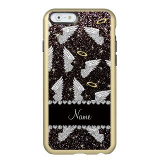 Custom name black glitter angel wings incipio feather® shine iPhone 6 case