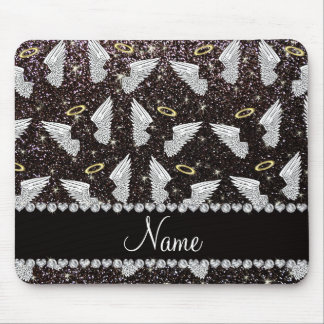 Custom name black glitter angel wings mouse pad