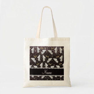 Custom name black glitter angel wings tote bag