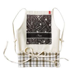 Custom name black glitter lacrosse sticks zazzle HEART apron
