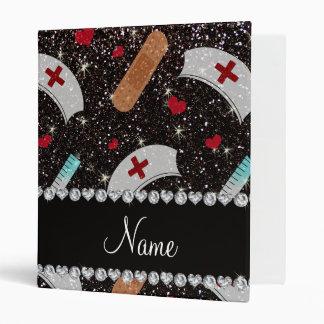 Custom name black glitter nurse hats heart binder