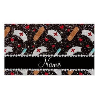 Custom name black glitter nurse hats heart business cards