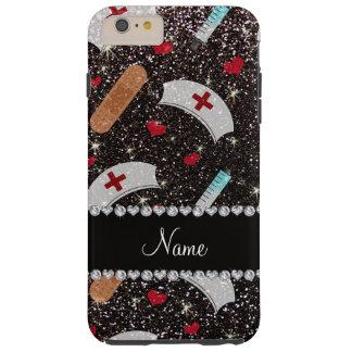 Custom name black glitter nurse hats heart iPhone 6 plus case