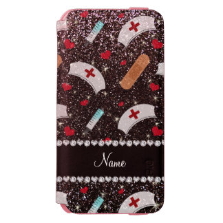 Custom name black glitter nurse hats heart iPhone 6/6s wallet case