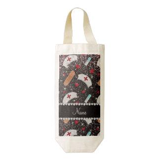 Custom name black glitter nurse hats heart zazzle HEART wine bag