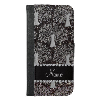 Custom name black glitter silver tree of life iPhone 6/6s plus wallet case