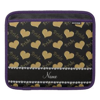 Custom name black gold bride hearts iPad sleeves