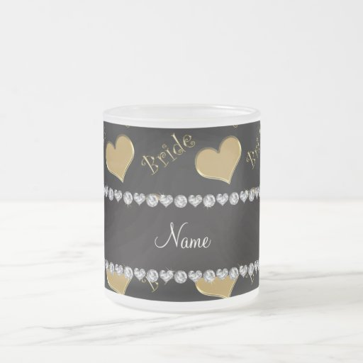 Custom name black gold bride hearts 10 oz frosted glass coffee mug