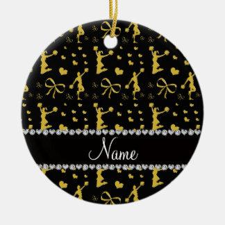 Custom name black gold cheerleading bows hearts ceramic ornament