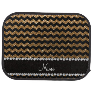 Custom name black gold glitter chevrons car floor mat