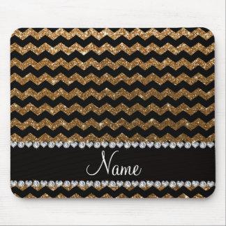 Custom name black gold glitter chevrons mouse pad