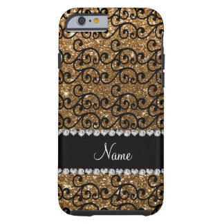 Custom name black gold glitter swirls tough iPhone 6 case