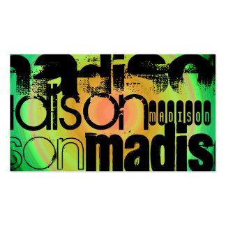 Custom Name; Black, Green & Peach Radial Design Business Card