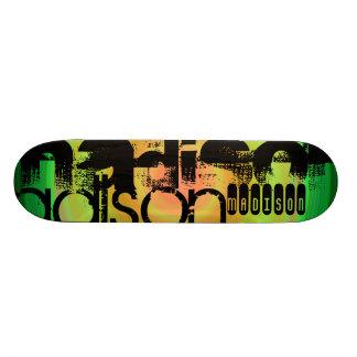 Custom Name; Black, Green & Peach Radial Design Skate Deck
