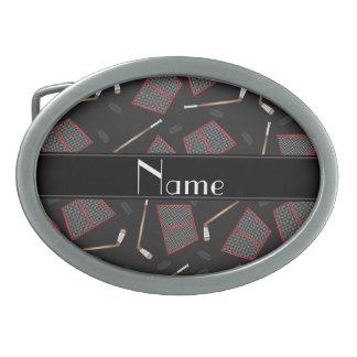 Custom name black hockey sticks pucks nets oval belt buckles