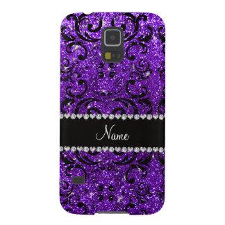 Custom name black indigo purple glitter damask cases for galaxy s5