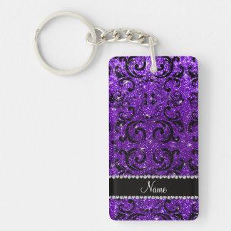 Custom name black indigo purple glitter damask rectangular acrylic keychain