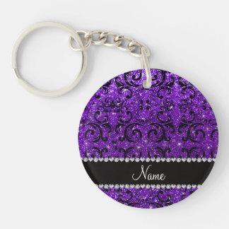 Custom name black indigo purple glitter damask keychains