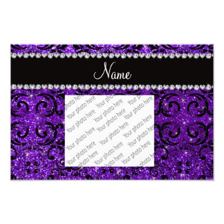 Custom name black indigo purple glitter damask art photo