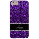 Custom name black indigo purple glitter swirls barely there iPhone 6 plus case