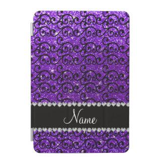 Custom name black indigo purple glitter swirls iPad mini cover