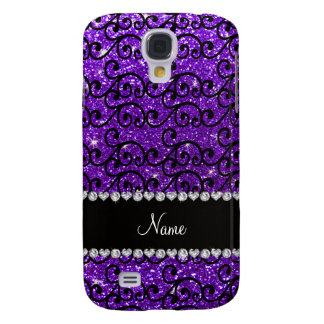 Custom name black indigo purple glitter swirls samsung s4 case