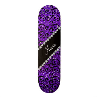 Custom name black indigo purple glitter swirls skateboard decks