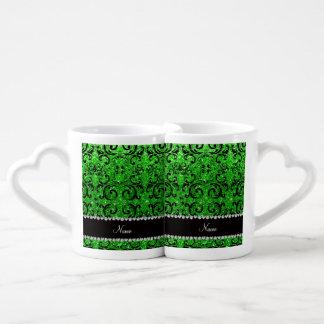 Custom name black lime green glitter damask couples' coffee mug set