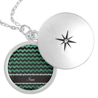 Custom name black mint green glitter chevrons round locket necklace