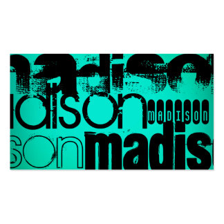 Custom Name; Black &  Neon Aqua Turquoise Business Card
