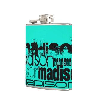Custom Name; Black &  Neon Aqua Turquoise Flask
