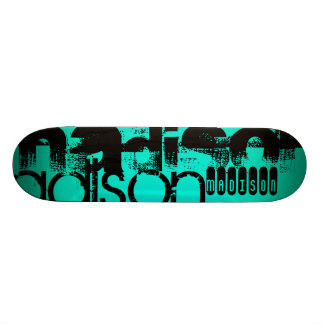 Custom Name; Black &  Neon Aqua Turquoise Skateboard Deck