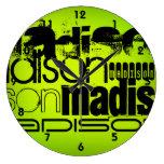 Custom Name; Black & Neon Chartreuse Yellow Green Large Clock