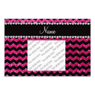 Custom name black neon hot pink glitter chevrons photo print