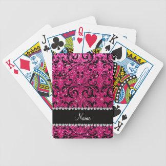 Custom name black neon hot pink glitter damask bicycle playing cards