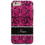 Custom name black neon hot pink glitter damask tough iPhone 6 plus case