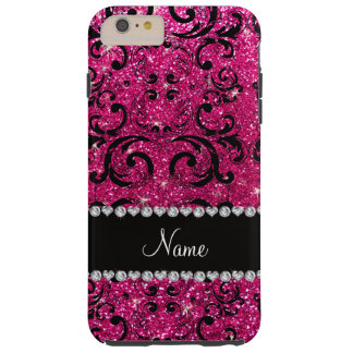 Custom name black neon hot pink glitter damask tough iPhone 6 plus case