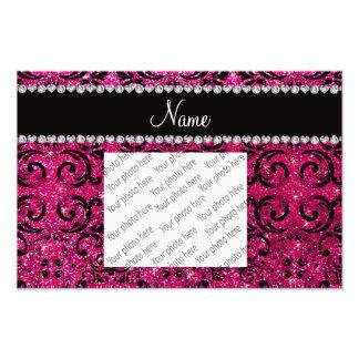 Custom name black neon hot pink glitter damask photo