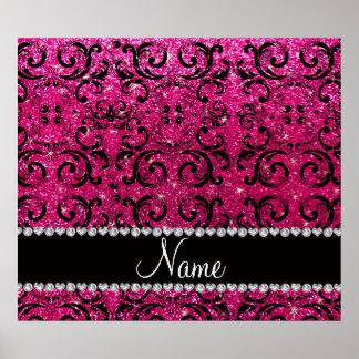 Custom name black neon hot pink glitter damask posters