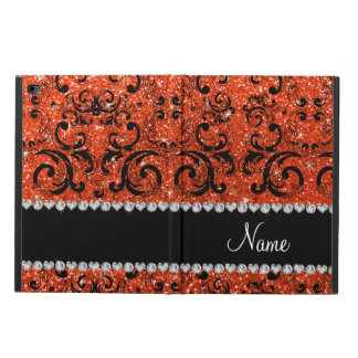 Custom name black neon orange glitter damask powis iPad air 2 case