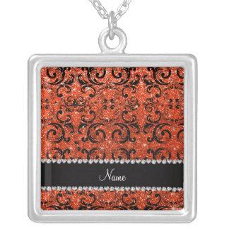 Custom name black neon orange glitter damask custom necklace