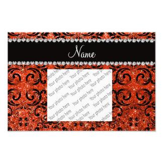 Custom name black neon orange glitter damask photo