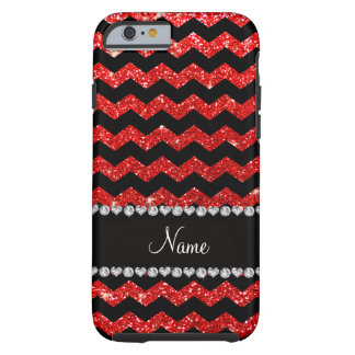 Custom name black neon red glitter chevrons tough iPhone 6 case