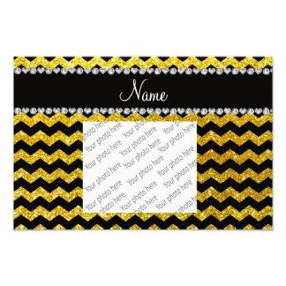 Custom name black neon yellow glitter chevrons photo art