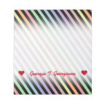 [ Thumbnail: Custom Name; Black & Pastel Color Lines Pattern Notepad ]