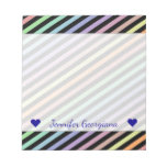 [ Thumbnail: Custom Name + Black & Pastel Color Lines Pattern Notepad ]
