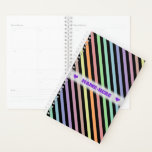 [ Thumbnail: Custom Name + Black & Pastel Color Lines Pattern Planner ]