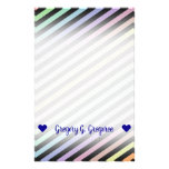 [ Thumbnail: Custom Name; Black & Pastel Color Lines Pattern Stationery ]